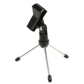 König KN-MICTABLE10 Mikrofon Tischständer mit 3 faltbaren Metallbeinen und Mikrofonklemme