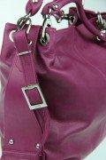 Sac à bandoulière Shopper femme en cuir de veau véritable avec bandoulière réglable (noir) violet