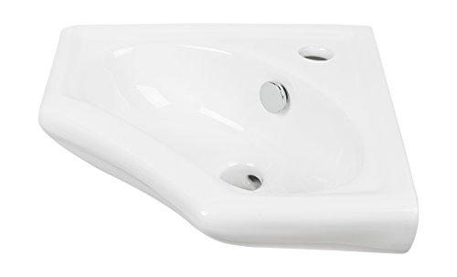 Perlmutt Waschbecken (Eckhandwaschbecken scaLma | 34 cm | Weiß | Eckwaschbecken | Einbauwaschtisch | Eckwaschtisch | Waschtisch | Gäste-WC)