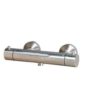 Landion - Thermostat Duscharmatur Brausearmatur massiv Edelstahl matt gebürstet mit Wasserecostop und Hei�wassersperre