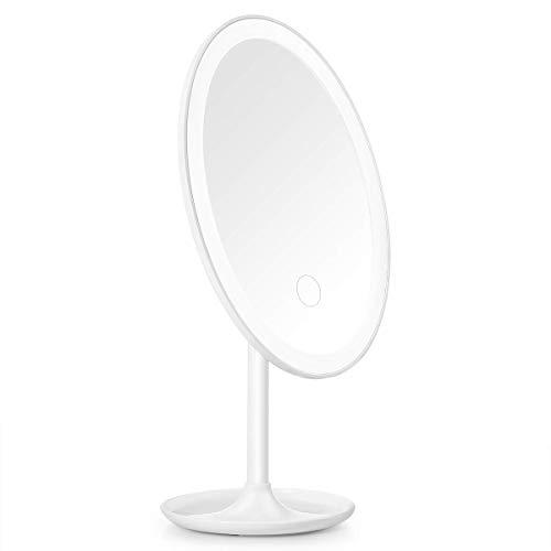 Beautural Kosmetikspiegel Beleuchtet Make-up-Spiegel mit LED Licht 3 Levels Helligkeit Einstellbar 360 Grad Swivel Schminkspiegel Tischspiegel USB Wiederaufladbare Tragbare Reise Rasierspiegel