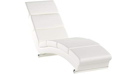 mecor Relaxliege Wohnzimmer Leder Liegestuhl Relaxsessel Modern weiß