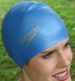 Speedo Silikon-Badekappe für lange Haare, Blau