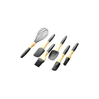 DOKEFUL Premium Silicone Cooking Utensil Set 6-Piece Kitchen Utensils with Wooden Handle, Heat Resistent Baking Utensils Cooking Tool - Pancake, Barbecue - Black