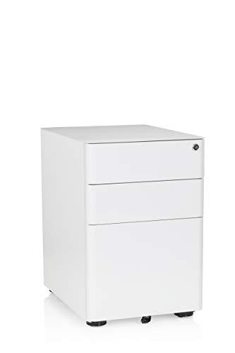 hjh OFFICE 743007 Rollcontainer Color Stahl Weiß Büro Schubladenelement mit Rollen, abschließbar
