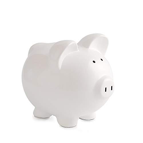 LCBH Sparschwein für Erwachsene, Papier für Kinder, kreatives Mädchen Schwein, groß, Keramik, Keramik, weiß
