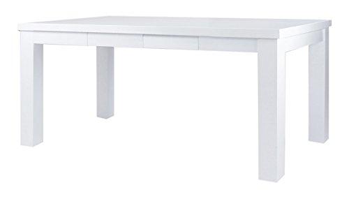 CAVADORE Esstisch ALABAMA / Moderner Küchentisch mit 4 Schubladen / Küchentisch im Landhaus-Stil Hochglanz Weiß lackiertes Holz / 160 x 90 x 76 cm (L x B x H)