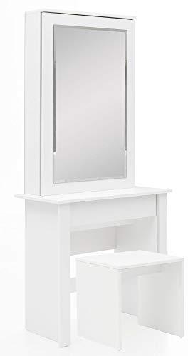 FineBuy Schminktisch FB51640 73x170x40 cm Weiß Konsolentisch Holz Modern   Kosmetiktisch mit Hocker und Spiegel   Weißer Frisiertisch mit Türfach   Moderner Make-Up-Tisch Mädchen Groß