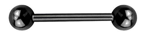 Brustwarzenpiercing Titan Frau Herren Stab Kugeln nickelfrei Nippelpiercing Brust Piercing Schwarz-14mm