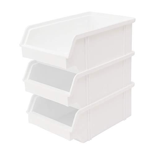 Lantelme 6619 Set Stapel - Aufbewahrungs - Box 25 Stück - Stapelboxen Stapelbar Farbe weiß aus Kunststoff - Sichtlagerkasten