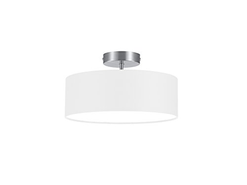 lightling modern Deckenleuchte in nickel matt, Stoffschirm weiß, 2 x E14 max. 40W, ø 30 cm, Höhe: 16 cm -