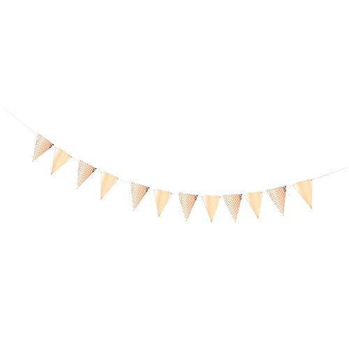 D DOLITY Papier Dreieck Banner Wimpelgirlande Wimpelkette Hängende Deko Girlande für Hochzeit Geburtstag und Taufe - Roségold