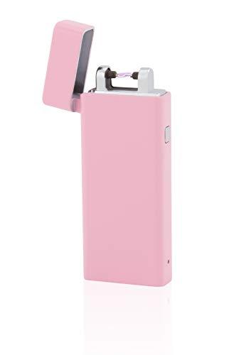 TESLA Lighter T04 | Slimline Lichtbogen Feuerzeug, Plasma Single-Arc, elektronisch wiederaufladbar, aufladbar mit Strom per USB, ohne Gas und Benzin, mit Ladekabel, in Edler Geschenkverpackung, Pink