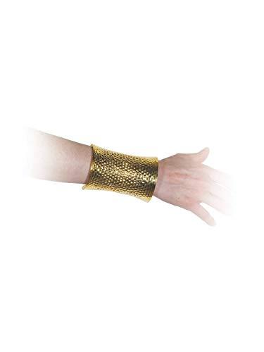 Brazaletes romanos para tu traje de romano, disfraz de egipcio o traje medieval. Incluye un brazalete romano, fabricado de metal, en color dorado y con rejilla decorativa (precio por blister de 1 unidad).