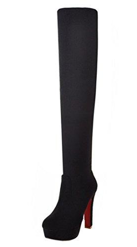 YE Damen Stretch Overknee Blockabsatz Stiefel Wildleder High Heels Plateau Boots mit 12CM Heels Absatz Winterschuhe (39, Schwarz)