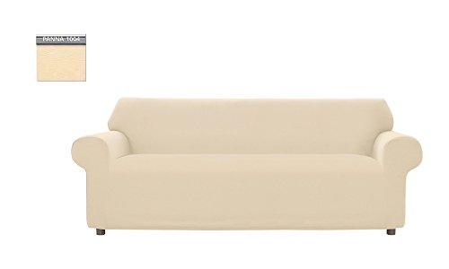 Copridivano genius tinta unita, per divano 3 posti, colore panna 1004