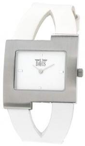 Davis 1401 Women's Analog Quartz Steel Watch with White Leather Strap