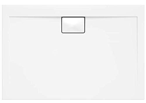 duschwanne 140 VBChome Duschwanne 140 x 100 x 4,5 cm sehr Flach Sanitär-Acryl Hochwertige Glasfaser verstärkte Wanne Form: Rechteck Eckig Weiß Alpineweiß Hochglanz Aufbau-Höhe: 4,5 cm
