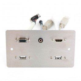 Doppia presa In metallo Piastra Da Muro. 2 x USB A, 1 X HDMI, 1 X SVGA, 1 X 3.5mm Spinotto e Play
