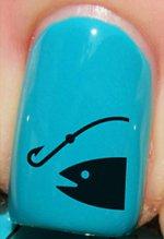Femme pêcheur hameçon et ligne - Stickers pour ongles YRNAILS
