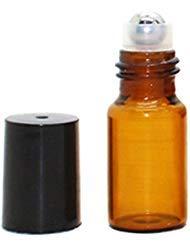 Amber Glas-Rollflaschen, 25 Stück, 3 ml, Glas-Ölflaschen für ätherische Öle mit Edelstahl-Rollkugeln, leere Glasfläschchen, Parfüm-Öle, Probe, Flüssigmischungen, Reisegröße - Amber Glas Wasser