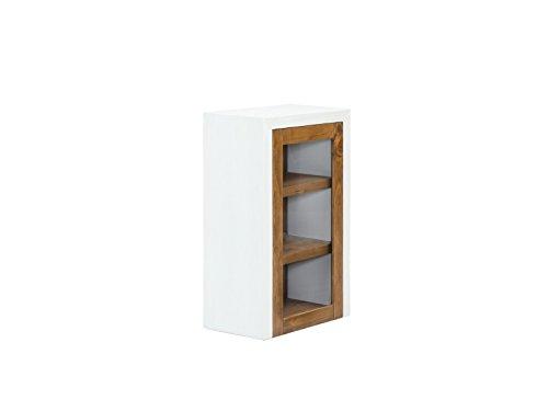Woodkings Bad Hängeschrank Burnham Pinie natur rustikal Glasschrank Möbel Badmöbel Badezimmer Badezimmerschrank Badschrank mit Glastür Landhaus Echtholz