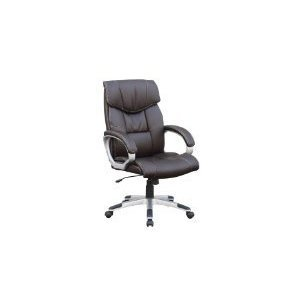 87043 DARK BROWN PU LEATHER OFFICE CHAIR PADDED