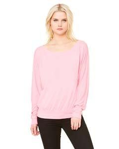 Bella Damen Rosa T-shirt (Bella+Canvas: Flowy LS schulterfreies T-Shirt 8850, Größe:M;Farbe:Neon Pink)