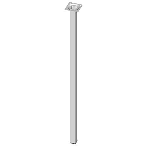 Element System 4 Stück Stahlrohrfüße eckig, Tischbeine weiß, Möbelfüße inklusive Anschraubplatte, 70 cm, 10 Abmessungen und 4 Farben