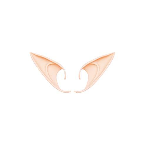 Ndier 1 Paar Latex Elf Ear Pixie Dress Up Kostüm Weiche Spitz Vampir Goblin Fairs Ears Sicherheit Convenience Cosplay Halloween-Party Props 12 cm Licht Hautfarbe
