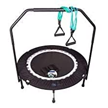 MaXimus PRO Folding Rebounder Fitness Trampoline   Voted #1 Indoor Mini Exercise Trampoline For Adults With Bar   Best Home Gym for Fitness & Lose Weight   FREE Storage Bag, Resistance Bands, Awesome ONLINE & DVD Workouts!