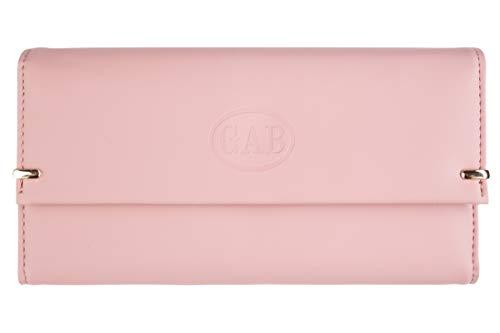 GAB Damen Geldbörse Premium Groß Leder Portemonnaie Rosa/Pink für Kreditkarten mit Münzfach -