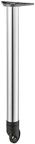 Möbelfuß mit Laufrollen Chrom poliert Tischbein höhen-verstellbar +25 mm Tischfuß rund Metall - Modell H1877 | Höhe: 710 mm | Tragkraft bis 35 kg | GedoTec® powered by HÄFELE