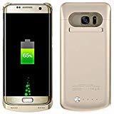 Galaxy S7 Edge Funda de batería, 5200 mAh, batería Recargable, Cargador de batería extendida, portátil Power Bank Carga Mochila Funda para Samsung Galaxy S7 Edge 5.5 Pulgadas Dorado