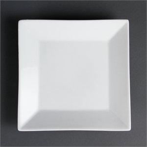 Olympia Whiteware Assiettes Carrées Bord Large 250 mm 250 mm/25,4 cm. Blanc. Quantité : 6.