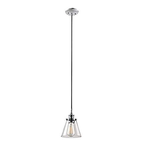 Chrom Poliert 1 Licht Anhänger (xiadsk Licht, Lampe, Laterne Globe Electric Mercer 1-Licht-Anhänger, poliertes Chrom-Finish, Klarglasschirm, schwarzes Gewebe-Kabel)