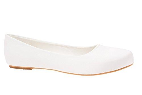 Klassische Ballerina, Gr. EU44(ca.29,3cm) ( Braut Ballerina Satin Weiss ) (Satin Ballerinas Weißen)
