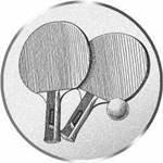 S.B.J - Sportland Pokal/Medaille Emblem, Motiv Tischtennis, Durchmesser 50 mm, Silber