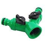Plastique 2 Voies Double adaptateur de robinet avec Valves individuelles On/Off