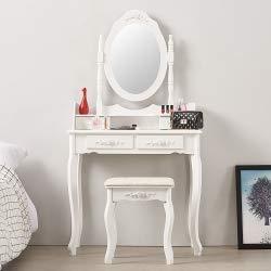 Panana - Tocador de Madera con Espejo Ovalado y 4 Cajones Almacenaje Cosméticos Maquillaje Dormitorio...