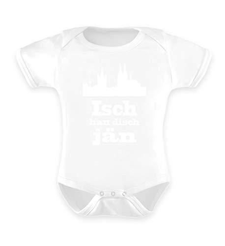 Köln/Kölsch: Isch han disch jän - Geschenk Humor - Ruud un Wieß - FC - Alaaf - Fasching - Baby Body -6-12 Monate-Weiß