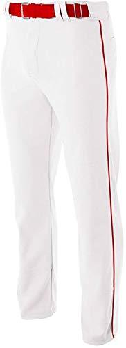 Pro Style Open Bottom Baggy Cut Baseball Pants WHITE/ SCARLET S Scarlet Zip
