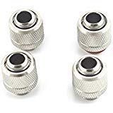 """PNML Silver Chrome G1/4"""" to ID 3/8"""" OD 1/2"""" Soft TUBING Compression Fitting for Computer Water Cooling System Through Joint Straight Joint"""