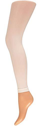 krautwear Damen Mädchen Leggins Leggings 60 den Karneval Fasching Kostüm schwarz rot rosa blau (weiss-SM)