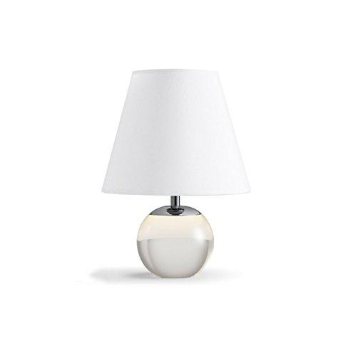 GUORONG Moderne einfache Tischlampe, Crystal Glas Basis Stoff Schatten Schlafzimmer Nachttisch Gegenleuchten monochromatische Licht E27 * 1 Netzschalter-Taste Energieeinsparung und Umweltschutz Modern
