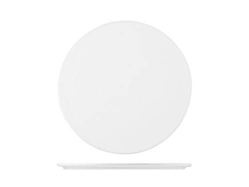 H&H Table Hotelware Plat Plaque Rond, Porcelaine, Blanc, 25 x 25 x 1 cm
