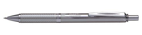 Pentel BL407-A Gel-Tintenroller EnerGel Sterling Druckmechanik in silbernem Metallgehäuse 0,7 mm, schwarz