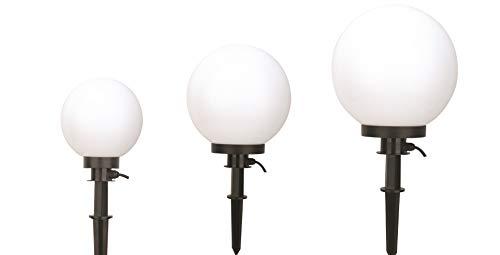 Bella Vita Dapo Kugelleuchte Gartenlampe Hochwertige Außenleuchte Marlon 3er Set (20+30+40cm) Gartenleuchte Kugellampe mit Erdspieß, E27, Kugellampe