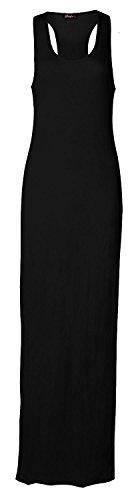 Fast Fashion Damen Maxi Kleid Ärmellose Plain Muskel Racer Back (Jersey Maxi-kleid)