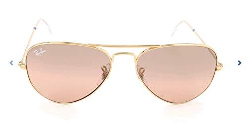 Ray-ban 0rb3025 - occhiali da sole aviator, unisex adulto, cornice dorata, specchio cristallo marrone-rosa in argento, 55 mm